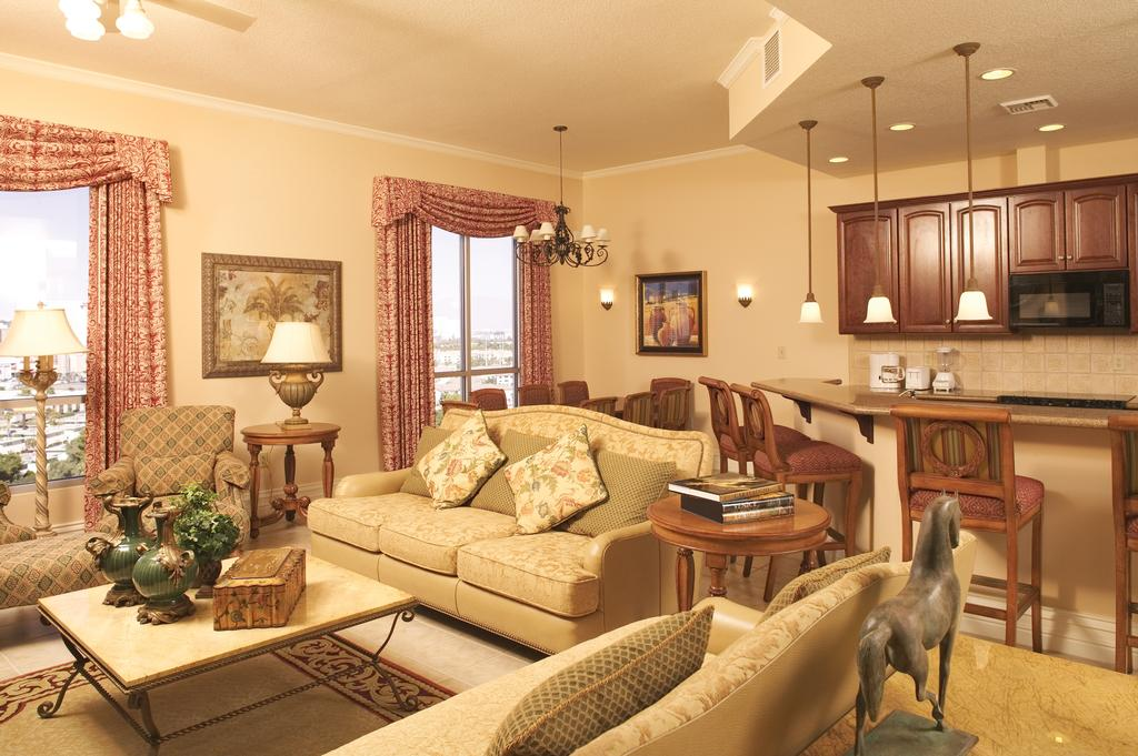 Wyndham Grand Desert Las Vegas, Nevada living, kitchen, and dining area